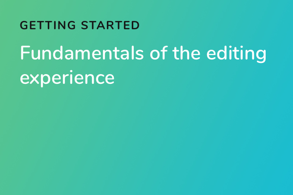Fundamentals of the editing experience